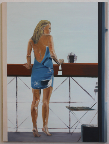 """Dame am Balkon"" 200 x 150 cm, Öl auf Leinwand, Felix Rieger 2015"