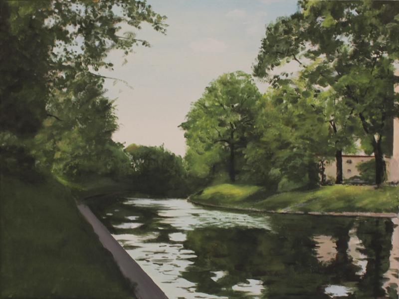"""""""Grüner Kanal"""" 60 x 45 cm, Acrylfarbe auf Leinwand, Felix Rieger 2017"""