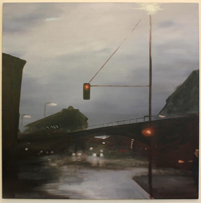 """""""Way Home After Rain"""" 95 x 95 cm, Acryl & Öl auf Leinwand, Felix Rieger 2017"""