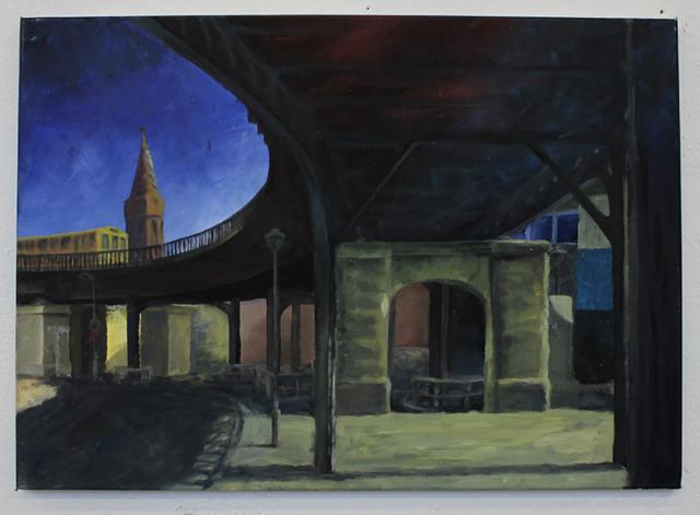 """""""Oberbaumbrücke IV"""" 50 x 70 cm Öl auf Leinwand, Felix Rieger 2010"""