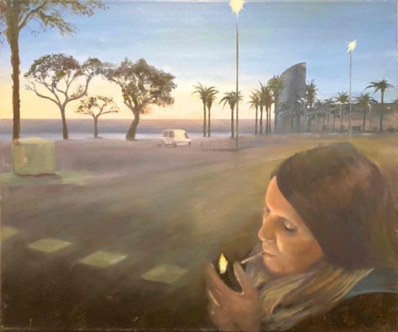"""BARCELONETA"" Öl auf Leinwand, 48 x 55 cm, Felix Rieger 2012-13"