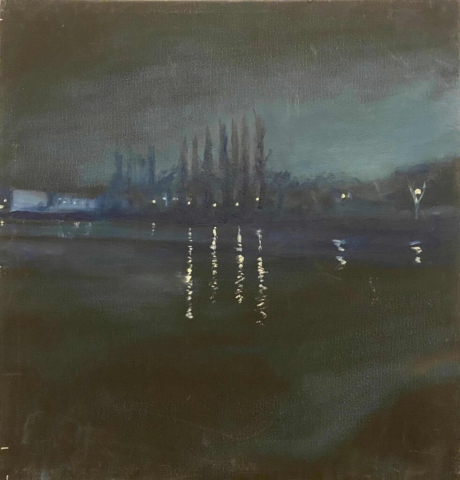 """Nachtlandschaft, Spree"" 40 x 40 cm, Öl auf Leinwand, Felix Rieger2013"