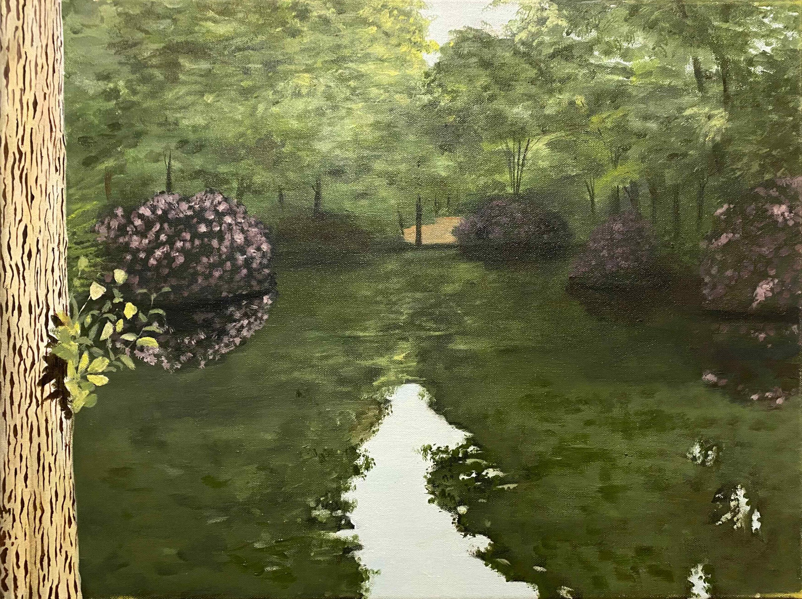 """Tiergarten in Blüte"" 50 x 70 cm, Acryl auf Leinwand, Felix Rieger 2017"
