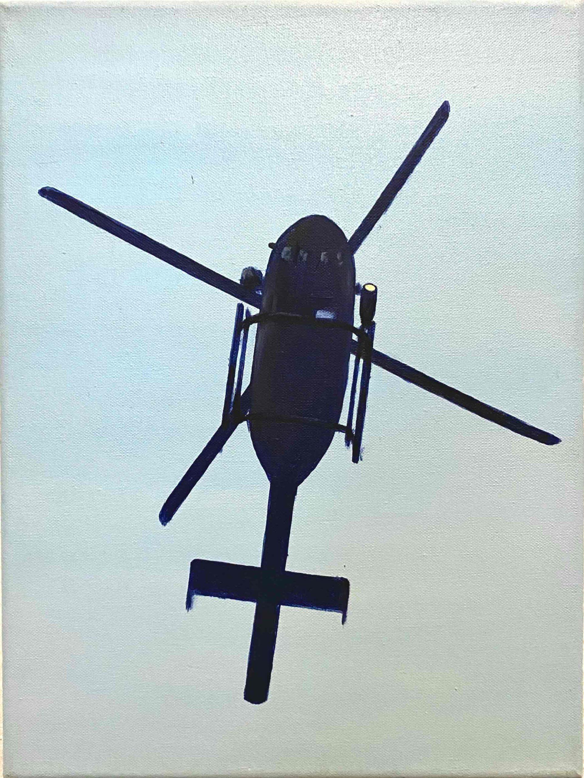 """Helicopter VIII"" 40 x 30 cm, Öl und Acryl auf Leinwand, Felix Rieger 2017"