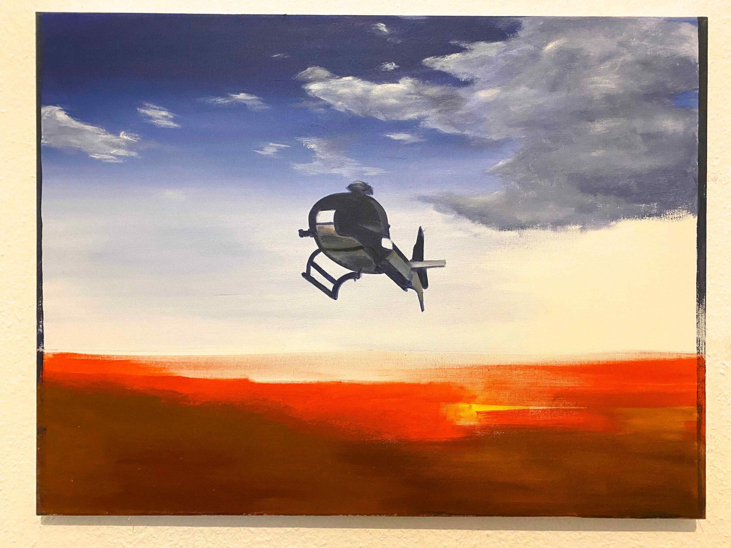 """Helicopter X"" Acryl auf Leinwand, 60 x 80 cm, Felix Rieger 2018"