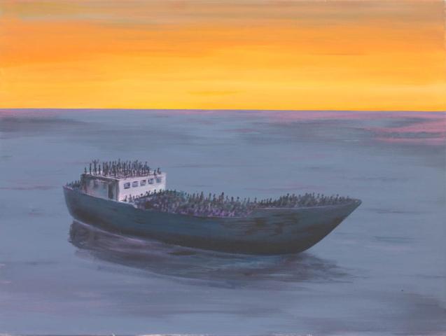 """""""Immigrants"""" 60 x 80 cm, Öl auf Leinwand, Felix Rieger 1.2015"""