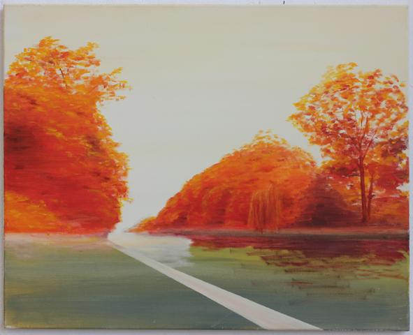 """Kanal im Spätsommer"" Öl und Acryl auf Leinwand, 60 x 75 cm, Felix Rieger 2014"