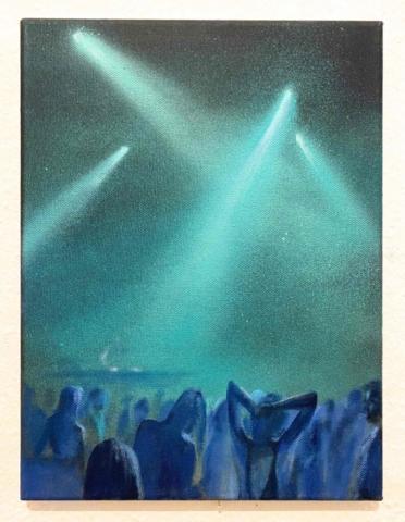 """Neonlight IV."" Öl und Acryl auf Leinwand, 40 x 30 cm, Felix Rieger 2018"