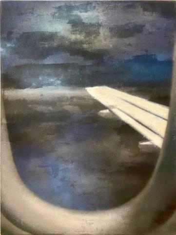 """Nightflight, plane window"" 80 x 60 cm, Mixtechnik, Felix Rieger 2017"