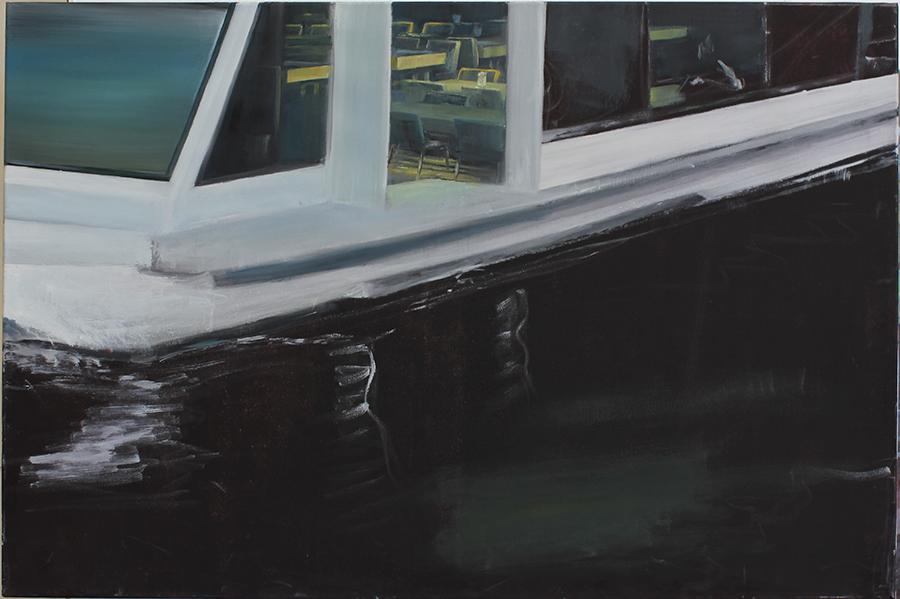 """""""Schiff mit Tourist"""" 80 x 120 cm , Öl auf Leinwand, Felix Rieger 2012"""