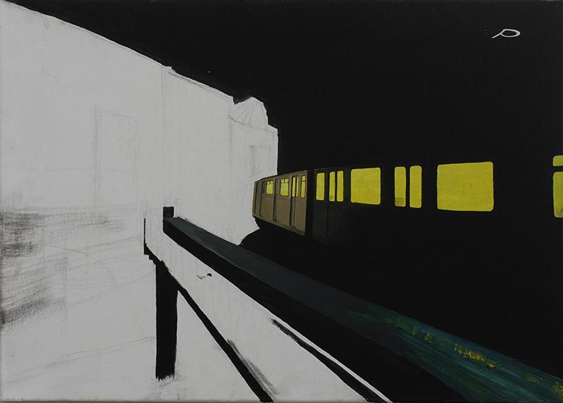 """""""Schlesisches-Tor bei Nacht"""" Öl und Acryl auf Leinwand, 50 x 70 cm, Felix Rieger 2010"""