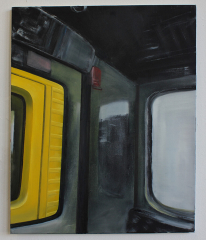"""U-Bahn-Interior"" 80 x 60 cm, Öl auf Leinwand, Felix Rieger 2012"